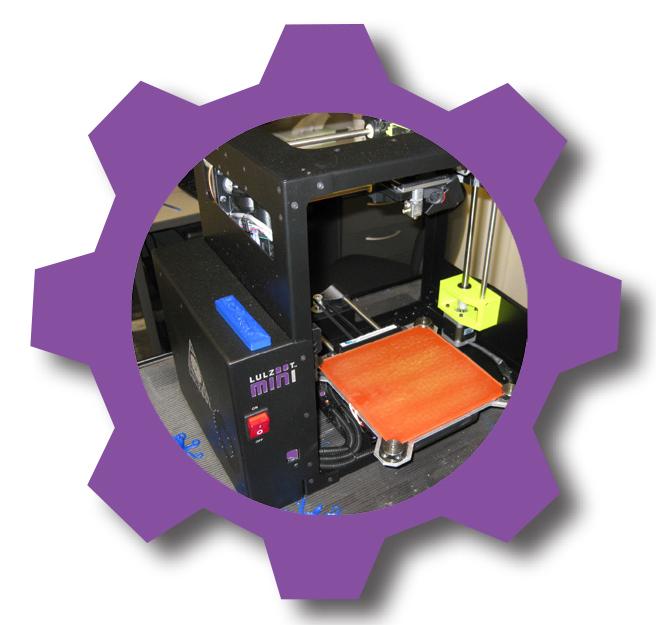 Lulzbot 3D printer in purple cog