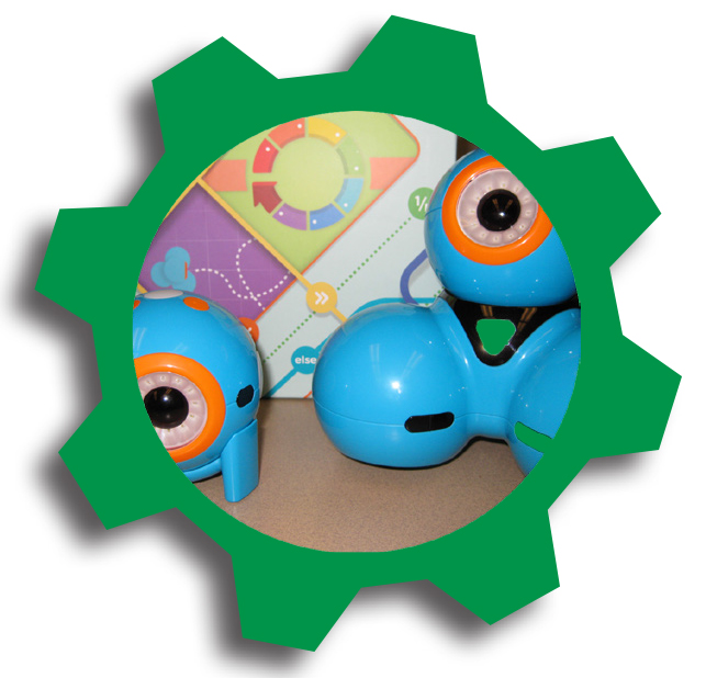 Dash and Dot robots in green cog